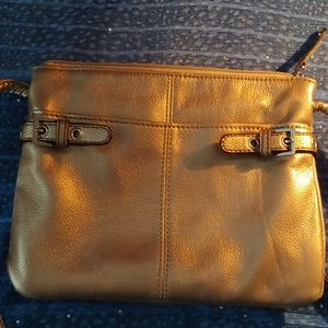 Tignanello crossbody gold purse